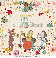 Animals - musicians on birthday party. Zebra, deer, dog, rabbit  are playing on classical musical instruments. Party invitation. Funny vecto...