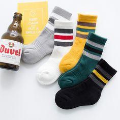 Children Back to School Socks,Classic Three Stripe Socks,Kids Winter Socks Thick,Old School Style