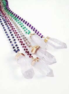 Crystal Quartz Wirewrapped Necklace by shopkei on Etsy, $84.00