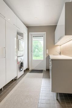 While highgloss laundry room with storage on both sides. New laundry room door with more light. Laundry Room Doors, Laundry Room Storage, Laundry In Bathroom, Interior Design Living Room, Living Room Designs, Living Room Decor, Utility Room Designs, Laundry Room Lighting, Laundry Room Layouts
