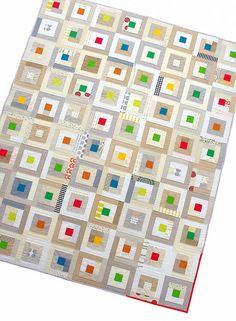 "Red Pepper Quilts: Neutral Study Quilt II ~ A Custom Quilt  2.5"" center, 8.5"" block after 8 logs"