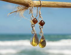 Dominican Blue Amber Dangle Earrings Sterling by MyBeachStore
