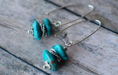 Turquoise Nugget Earrings with Sterling by loveandabovejewelry