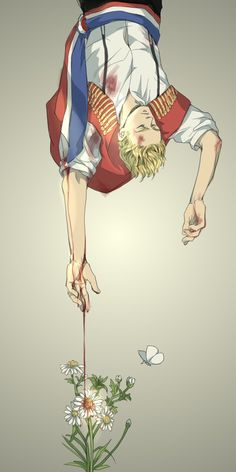In which Enjolras' blood makes Eponine;s flowers grow... (wouldn't that kill them though? Oh well lovely art!)