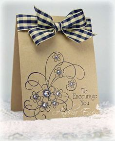 love that stamp design and the ribbon!