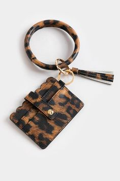 Betsy Leopard Scallop Card Case Key Chain Rings, Card Case, Louis Vuitton Damier, Beige, Handbags, Pattern, Women, Products, Totes