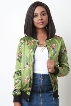 Charmeuse Floral Bomber Jacket