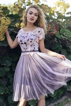 Cute Lace Prom Dress,Short Prom Dress,Chiffon Prom Dress,Applique