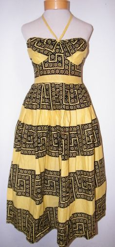 Gorgeous 1940's Cotton Halter Dress by OrchidRoomVintage on Etsy, $175.00