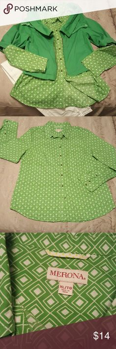 Like New Long sleeve Shirt Green & White, MERONA, 1 pocket, button down Smoke free, Pet free home Merona Tops Button Down Shirts