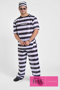 Who wouldn't want to get locked up in this Male Jail Bird Costume? (Quantity: 1)  Costume Includes:  Shirt, Pants, Hat, Accessories: Cuffs & Glasses  - More info: raecostumes.com | 415-678-5392