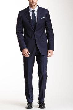 Solid Blue Pinstripe Suit by Armani Collezioni on @HauteLook