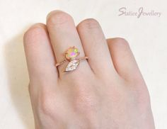 Opal and Leaf Ring Rose Gold Sterling Silver von StaticeJewellery