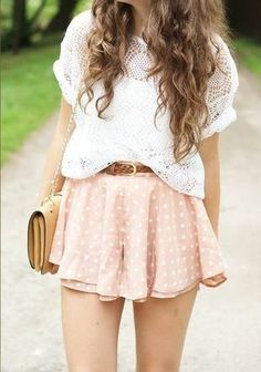 Dots summer outfits, girly outfits, teenage outfits, cute outfits, hi Look Boho, Look Chic, Look Fashion, Teen Fashion, Fashion Trends, Fashion Ideas, Fashion 2016, Spring Fashion, School Fashion