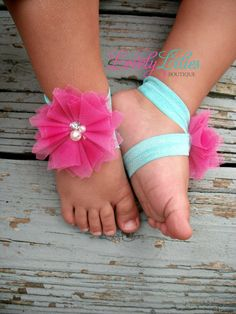 Baby Barefoot Sandals .. Pink Coral Tulle Flowers .. Toddler Sandals .. Newborn Sandals