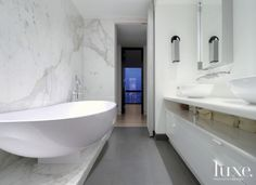 White Modern Master Bath