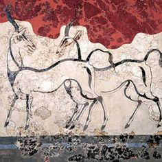 Minoan Fresco wall painting of goats from Minoan Bronze Age settlement of Akrotiri on the Greek island of Thira, Santorini, Greece. Greek History, Ancient History, Art History, Rome Antique, Art Antique, Fresco, Creta, Ancient Greek Art, Ancient Greece