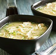 Lemony Chicken Noodle Soup with Ginger, Chile & Cilantro