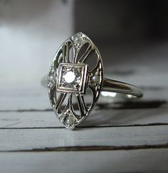 Antique Engagement Ring 14K Diamond by jewelrypicker on Etsy, $359.00