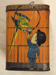sharps large toffee figural bird cage sweets tin parrot sir kreemy knut 1920's