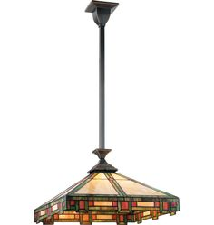The Pasadena. A classic Arts & Crafts fixture in Burnished Antique finish and stained glass shade.