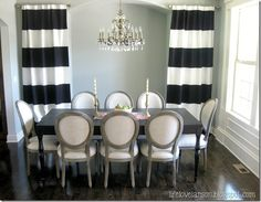 DIY Black and white striped drapes - white curtains with no sew black fabric stripes