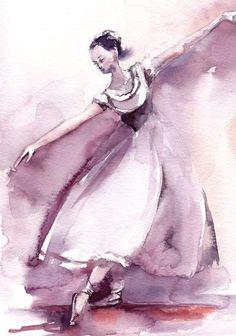 #Ballerina #Watercolor Painting Original Watercolor Painting Purple Ballet Painting Moder nBallet Watercolour Art  One of a…