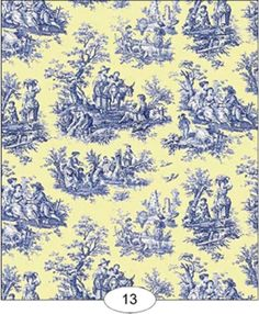 Dollhouse Wallpaper     Toile de Juoy in Blue and Yellow