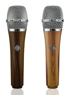 Pictured is the new TELEFUNKEN M80 dynamic mic Wood Series in dark wood Cherry finish (L) and light wood Oak finish.