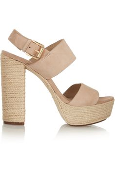 Michael Kors | Suede and raffia sandals | NET-A-PORTER.COM