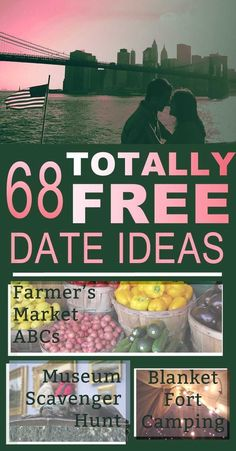 68 Totally Free Date Ideas You'll Actually Want To Try -youtube videos to teach skills you don't know; fancy cooking -sweepstakes night - enter as many as you can find -babysit/petsit -create your own holiday -play vacations
