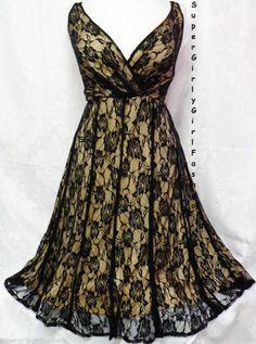 20W Women's Sexy Nude Black Lace Surplice Plus Size Dress Empire Waist Glamour #EmpireWaist