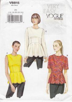 Fitted Top Raised Waist Sleeve Variation Vogue Sew Pattern 8815 Sz 16-14 Uncut #Vogue #topraisedwaist