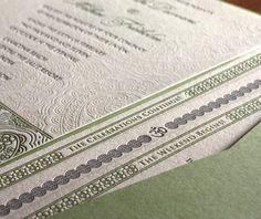 Devi letterpress wedding invitation design