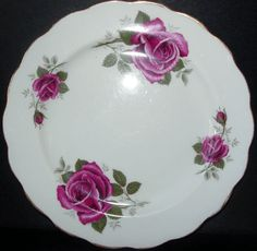"BONE CHINA, ENGISH (Red Rose) by Kent 8"" in diameter SALAD PLATE 8"" - Red on white  EUC Value: $22.00 Price: $11.00"