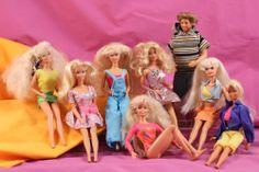 Mattel Barbie Doll Lot with Ken, Wearing Clothes, 90s blonde big hair gymnast #Mattel #BARBIE #Dolls