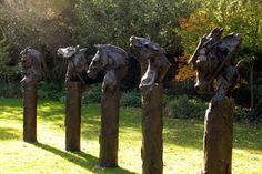 #Resin #sculpture by #sculptor Kate Denton titled: 'Paladins of Charlemagne III (Bronze Horse Busts/Heads statues/sculpture)'. #KateDenton