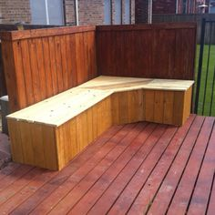 My new corner bench for the deck. Each straight section has storage underneath. Tony's pretty handy to have around.