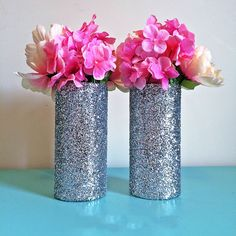 3 Silver Glitter Glass Cylinder Vases, Wedding Centerpieces, Silver Wedding, Silver Vases, Gold Party Decorations, Gold Birthday, Party Centerpieces, Flower Vases, Set of 3