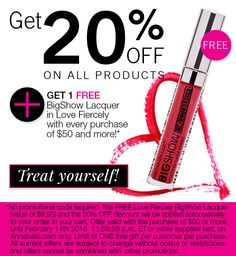 FREE with every purchase of $50 or more + get 20% OFF. Offer valid until February 14, 2016 at Annabelle.com only. Treat yourself! #ValentinesDay #promo #gift Promotion Code, February 14, 20 Off, Treat Yourself, How To Apply, Coding, Treats, Gifts, Free