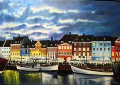 Kunstsamlingen | Artist: Jan Schuler | Title: Nyhavn by night | Height: 65cm,  Width: 92cm | Find it at kunstsamlingen.com  #kunstsamlingen #kunst #artcollection #art #painting #maleri #galleri #gallery #onlinegallery #onlinegalleri #kunstner #artist #danishartists #janschuler #galleriexpo