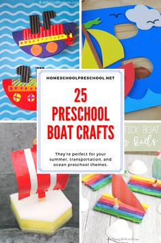 Choose one or more of these preschool boat crafts to add to your boat, transportation, or water themed preschool lesson plans. Choose one or more of these preschool boat crafts to add to your boat, transportation, or water themed preschool lesson plans. Water Crafts Preschool, Transportation Preschool Activities, Preschool Themes, Transportation Unit, Preschool Classroom, Kindergarten, Lesson Plans For Toddlers, Preschool Lesson Plans, Toddler Crafts