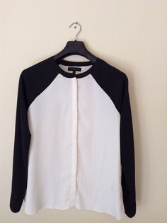 SANCTUARY CLOTHING  Black-Ivory Blouse Button-Down Top Shirt M #SanctuaryClothing #ButtonDownShirt #Casual
