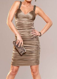 Robe cocktail taupe courte
