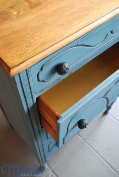 Miss Mustard Seed's Milk Paint -- French Enamel on dresser with Mustard Seed Yellow in drawers.