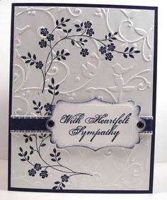 """First, stamp the flowers. Then dry-emboss white cardstock panel with Cuttlebug """"Birds and Swirls"""" embossing folder. Add ribbon and sentiment. (Her sentiment was inked on a die-cut with sponged edges.) Attach to card base. Making Greeting Cards, Greeting Cards Handmade, Pretty Cards, Cute Cards, Cards Diy, Embossed Cards, Stamping Up Cards, Prayer Cards, Get Well Cards"""