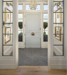 Like carrying an exterior material to the inside like brick or rough tile into the entryway or mud room