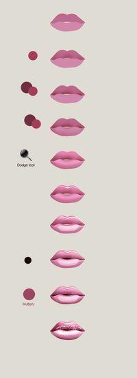 Draw lips in Photoshop in 5 min   Artdesigner.lv