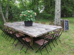 Huge farm table!  No directions here -- but I love this; it's what I've been wanting for the back yard!