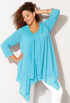 HATCHI 2FER CARDIGAN TOP, Sky Blue